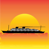 Evening Cruise. Illustration of a vintage cruise liner agonst a setting/rising sun vector illustration