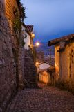 Evening in Cusco. Night shot of an old streets in the center of Cusco, Peru stock image