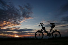 Evening and Cycling. The light from the sky at the end of the day when night is just beginning Stock Photos