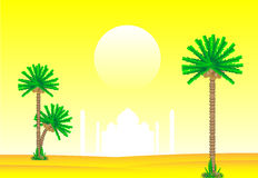 Evening in desert. With palms and silhouette of mosques Royalty Free Stock Photos