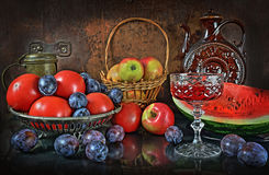 Evening of difficult day after harvesting. A still life with vegetables and fruit in a retro style Royalty Free Stock Images