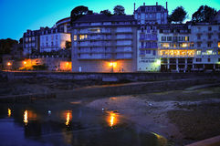 Evening in Dinard. Hotel and restaurant near the port in Dinard, Brittany, France Stock Images