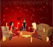 Evening divinations with the girls Stock Photography