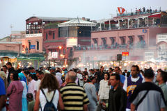 Evening in Djemaa el Fnaa square in Marrakech Stock Photos
