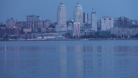 Evening Dnieper. View of Dnepropetrovsk from left coast stock video
