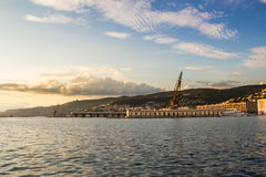 Evening in the docks of trieste royalty free stock photo