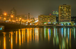 Evening Donetsk. Quiet a windless night, the river Kalmius Stock Image