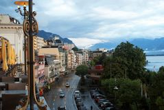 An evening in downtown Montreux, Switzerland
