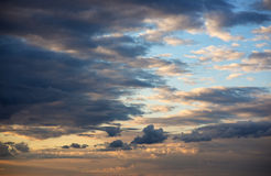Evening drama in the clouds Stock Photography