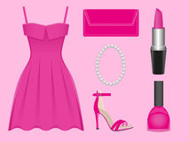 Evening dress pink. The set of apparel and accessories of pink color Royalty Free Stock Photos