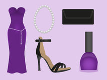 Evening dress purple. The set of apparel and accessories of violet color Stock Photo