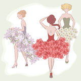 Evening dress. Three girls in evening dress royalty free illustration