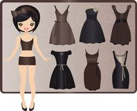 Evening dresses. Cute paper doll with collection of evening dresses Stock Image