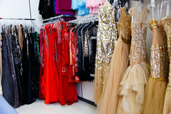 Evening dresses on hangers Royalty Free Stock Image