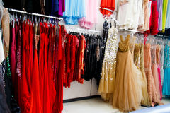 Evening dresses on hangers Royalty Free Stock Photo