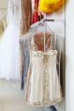 Evening dresses on hangers Royalty Free Stock Images