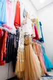 Evening dresses on hangers Stock Photo
