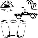 Evening_drink. Silhouette of three cans of drink on the beach on sunset background Royalty Free Stock Photography