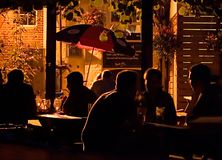 Evening Drinks. A beautiful evening drinking outdoors with friends Royalty Free Stock Images