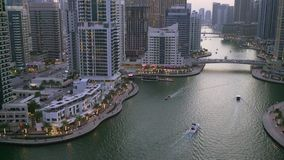 Evening in Dubai Marina stock video footage