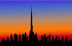 Evening Dubai Skyline -Vector Stock Image
