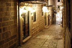 Evening in Dubrovnik. Evening streetscene in Dubrovnik (Croatia Royalty Free Stock Photo
