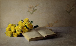 Evening. Eveancient ning roses book page petals yellow retro tablecloth flower letters leaves royalty free stock image