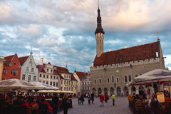 Evening Fair on the Town Hall Square in Tallinn, Estonia Royalty Free Stock Photo