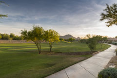 Evening falls over the Scottsdale Greenbelt Park and Camelback Mountain Royalty Free Stock Image