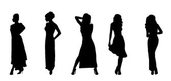 Evening Fashion. Silhouettes of women in evening fashion wear vector illustration