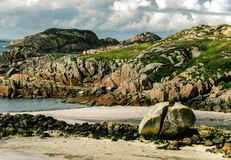 Evening at Fionnphort. Beach near the harbor in Fionnphort on the Isle of Mull. The ships take people to the Isle of Iona and back royalty free stock photos
