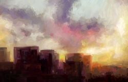 Evening fire of the city sunset. Cloudy sky and skyscrapers. Landscape. Digital painting. Sketchy style Royalty Free Stock Photo