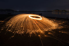 Evening fire dancing with nature Stock Images