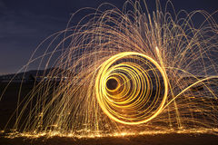 Evening fire dancing with nature Royalty Free Stock Photography