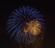 The evening fireworks in the sky in honor of celebration of Victory Day Royalty Free Stock Image