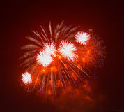 The evening fireworks in the sky in honor of celebration of Victory Day Royalty Free Stock Photo
