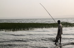 Evening fishing on lake Awassa Stock Photos