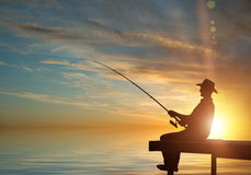 Evening fishing Royalty Free Stock Images