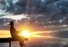 Evening fishing Stock Photo