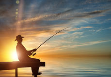 Evening fishing Royalty Free Stock Photos