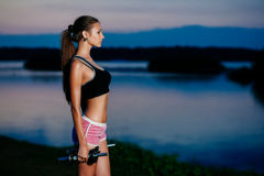 Evening fitness Royalty Free Stock Image