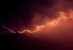 Evening Flash. Lightning in the evening of May 1,2013. Phayao Thailand Stock Photography