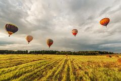 Evening flight of the hot air balloons Royalty Free Stock Images