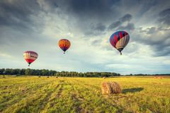 Evening flight of the hot air balloons. Stock Images