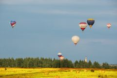 Evening flight of the hot air balloons. Stock Photography