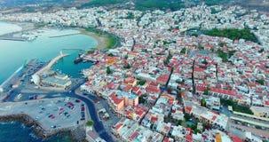 Evening flight over Rethymno city at Crete stock video footage