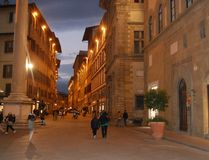 Evening in Florence. A street in Florence in the evening Stock Photography