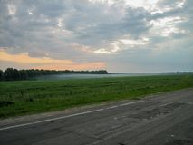 Evening fog spreads across the field along the road royalty free stock photography