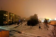 Evening fog in Vilnius city Pasilaiciai district Royalty Free Stock Photo