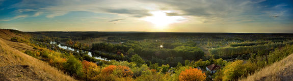 Evening forest village (panorama) Royalty Free Stock Photos